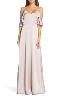 wedding photo - Monique Lhuillier Bridesmaids Isabel Sateen Cold Shoulder Gown (Nordstrom Exclusive)