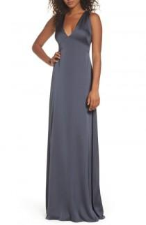 wedding photo - Monique Lhuillier Bridesmaids Dasha Tie Back Sateen Gown (Nordstrom Exclusive)