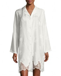 wedding photo - Orchid Paradis Long-Sleeve Satin Sleepshirt
