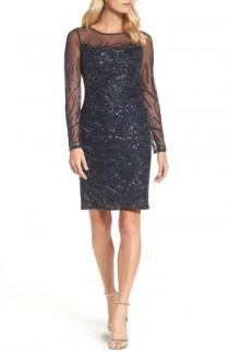 wedding photo - Adrianna Papell Beaded Illusion Sheath Dress