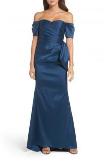 wedding photo - Badgley Mischka Bow Back Off the Shoulder Gown