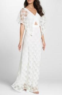 wedding photo - Foxiedox August Handkerchief Sleeve Embroidered Long Dress