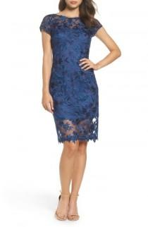 wedding photo - La Femme Illusion Detail Lace Sheath Dress