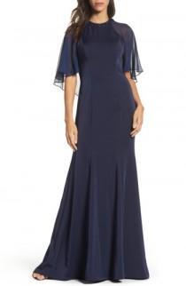 wedding photo - La Femme Cape Illusion Gown