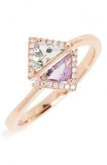 wedding photo - Bony Levy Iris Double Triangle Diamond & Semiprecious Stone Ring (Nordstrom Exclusive)