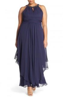 wedding photo - Eliza J Embellished Keyhole Neck Chiffon Gown (Plus Size)