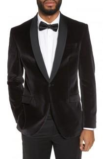 wedding photo - Ted Baker London Josh Trim Fit Stretch Velvet Dinner Jacket