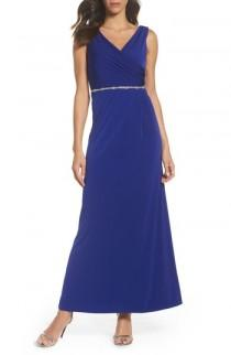 wedding photo - Ellen Tracy Embellished Drape Back Gown