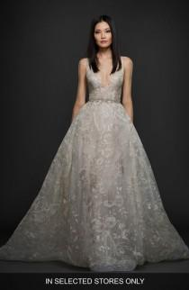 wedding photo - Lazaro Floral Embroidered Tulle & Chiffon Gown