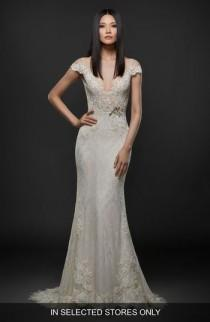 wedding photo - Lazaro Embroidered Lace Cap Sleeve Gown