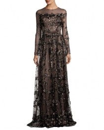 wedding photo - Long-Sleeve Floral Illusion Gown