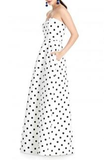 wedding photo - Alfred Sung Strapless Dot Sateen Gown