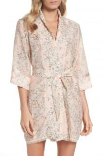 wedding photo - Papinelle Cherry Blossom Cotton & Silk Short Robe