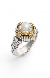 wedding photo - Konstantino Etched Sterling & Cultured Pearl Ring