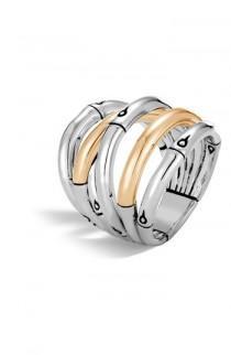 wedding photo - John Hardy Bamboo 18-Karat Gold Sterling Silver Stack Ring