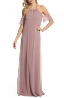 wedding photo - nouvelle AMSALE Ruffle Sleeve Halter Gown