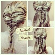 wedding photo -  Bohemian Wedding Hairstyle  Fish Tail Braid Ponytail Hairstyle