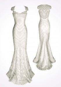 wedding photo - Cap Sleeves Mermaid Wedding Dresses ♥ White Lace Back Wedding Dress