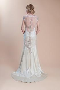 wedding photo - Embroidered Illusion Back Gown ♥ Claire Pettibone Silk Mermaid Wedding Dress
