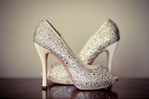 wedding photo - Argento Sparkly scarpe da sposa Scarpe da sposa ♥ Glitter