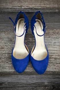 wedding photo - Blu scarpe da sposa Suede ♥ scarpe da sposa d'epoca