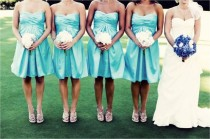 wedding photo -  Aqua Bridesmaids Gowns