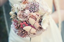 wedding photo - Vintage Wedding Bouquet ♥ El Custom Vintage Broş Düğün Buketi