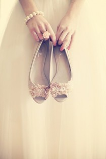 wedding photo - Chaussures de mariage - Appartements satin