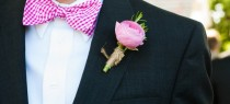 wedding photo - Pink Bow Tie & Boutonniere