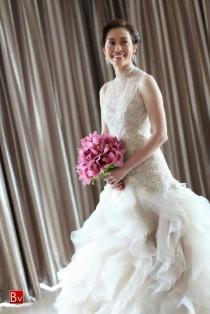wedding photo - Chic Robe de mariage de conception spéciale ♥ Veluz Reyes perlés à la main brodée Robe asymétrique de mariage Layered