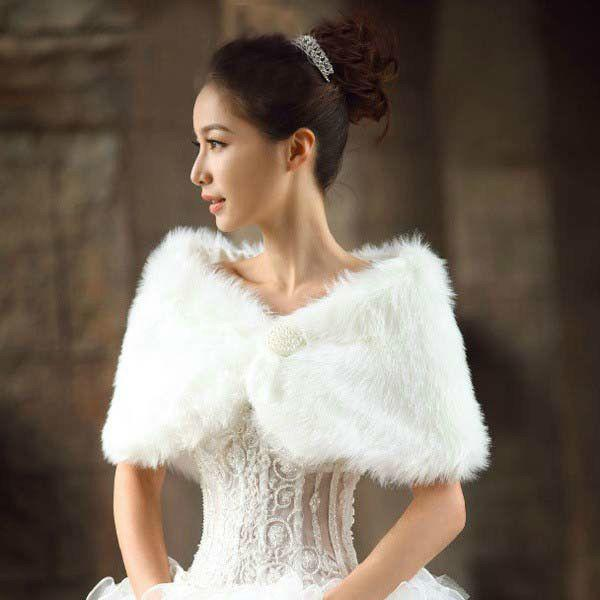 New Ivory Faux Fur Wedding Bridal Pearl Ball Shawl Wrap Stole Shrug Bolero Cape