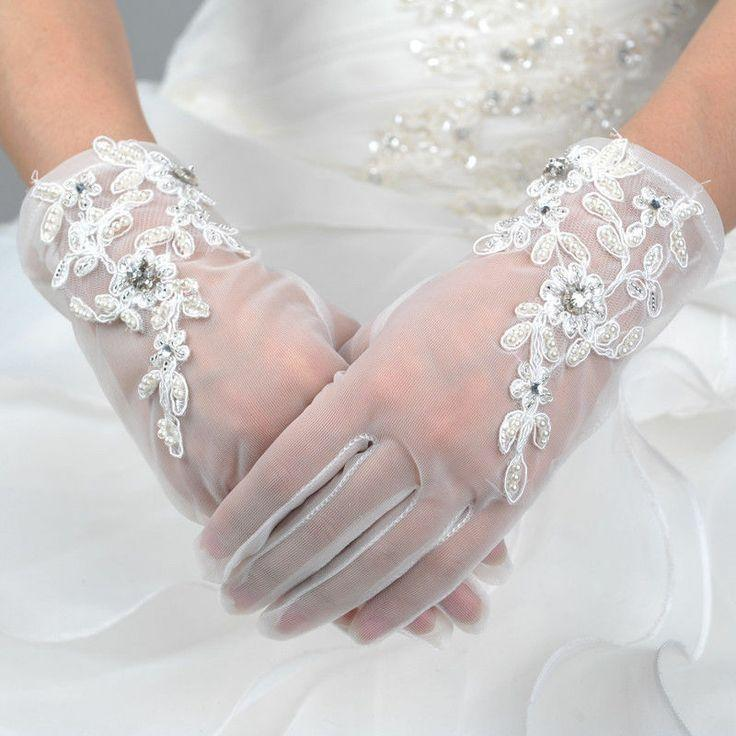 Ivory Wrist Length Embroidered Voile Wedding Gloves W Pearl Rhinestone Short