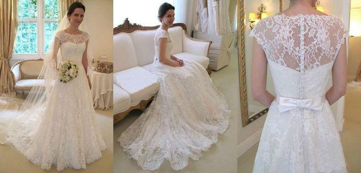 Gorgeous White Ivory Lace Wedding Dress Bridal Gown Custom Size4 6 8 10 12 14 16