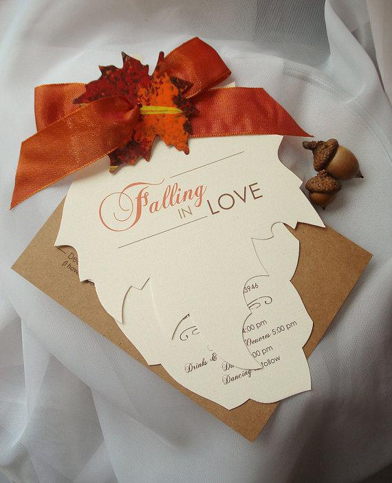 Falling In Love Hand Cut Autumn Leaf Wedding Invitation Sample New