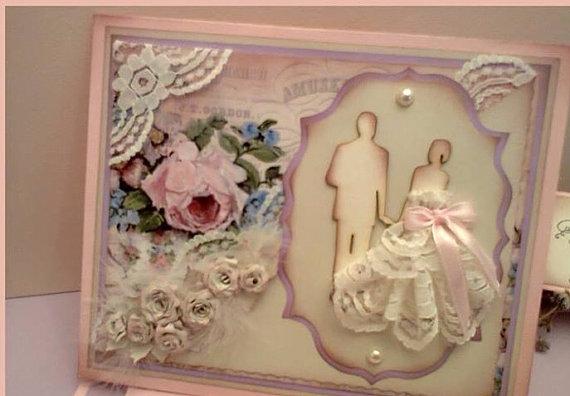 Trifold Handmade Wedding Vintage Invitation Card Bride Groom New
