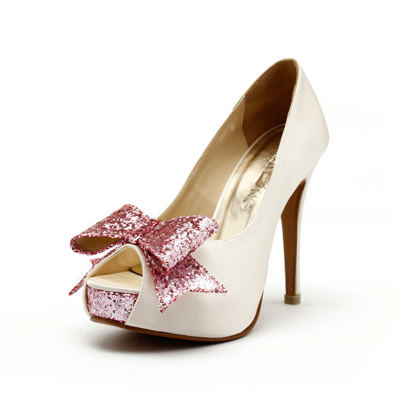 White Wedding Heels Shoe Ivory Shoes With Glitter