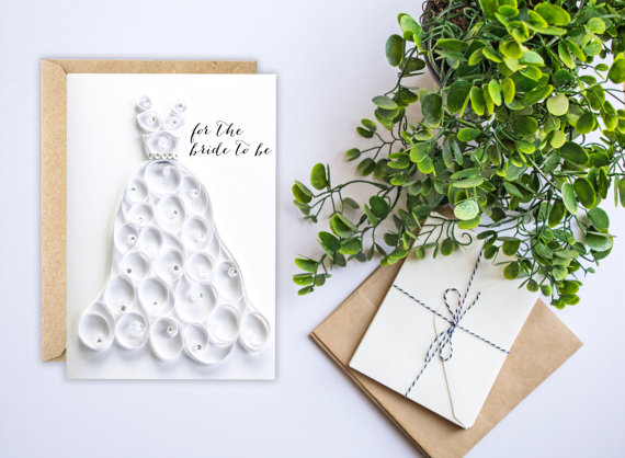 Bridal Shower Card Wedding Congratulations Bride To Be For Paper Quilling Handmade New