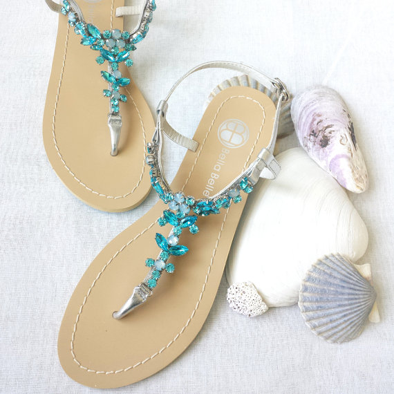 Something Blue Ombre Wedding Sandals Shoes For Beach Destination With Rhinestone Crystal Stry Silver Bridal New