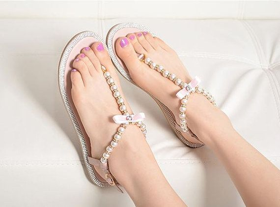 Wedding Shoes Pearl Flip Flop Ivory Sandals Holidays Beaded Beach Bridal
